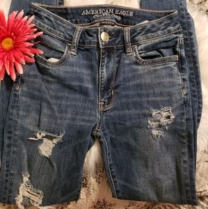 American Eagle AE awesome distressed jeans 0 reg